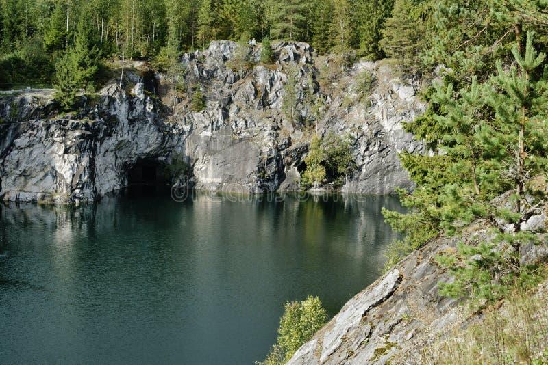 Marmurowy jar, Karelia, Rosja obraz stock