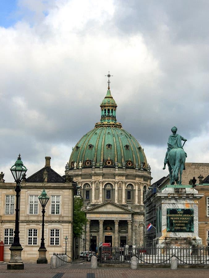 Marmurowy kościół i statua Frederick V, Dani fotografia stock