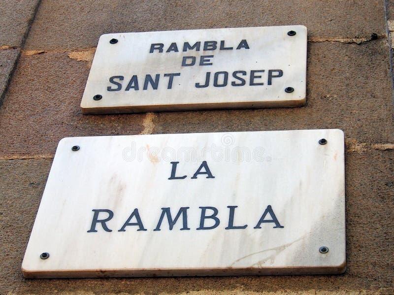 Marmurowy losu angeles Rambla znak uliczny, Barcelona obrazy stock