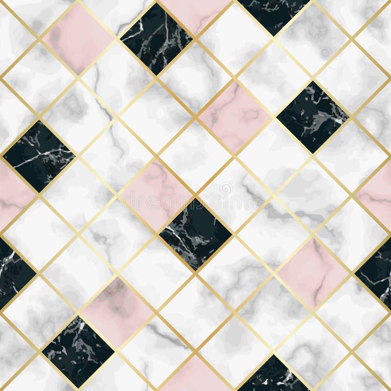 Marmurowy Luksusowy Geometryczny Bezszwowy wzór royalty ilustracja