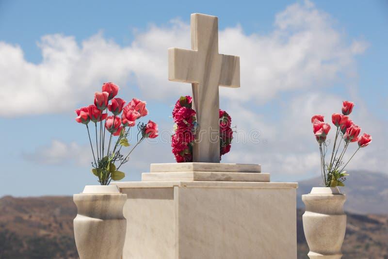 Marmurowy nagrobek w cretan cmentarzu greeley obraz stock