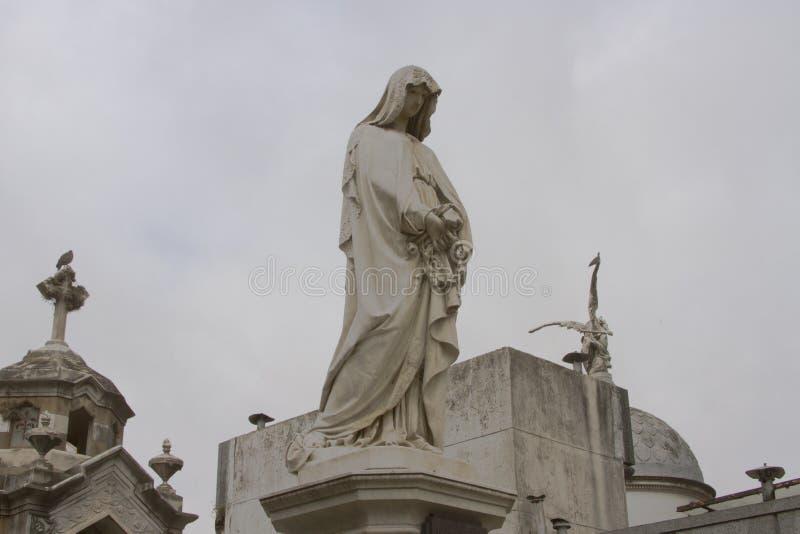 Marmurowy zabytek, Recoleta cmentarz, Buenos Aires, Argentyna obraz royalty free