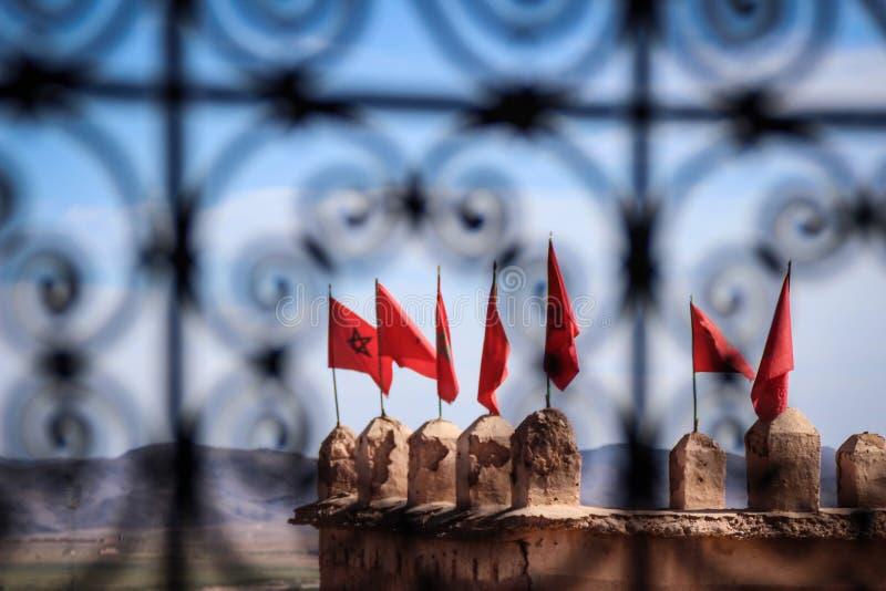 Maroccan flaga widzieć zdjęcia stock