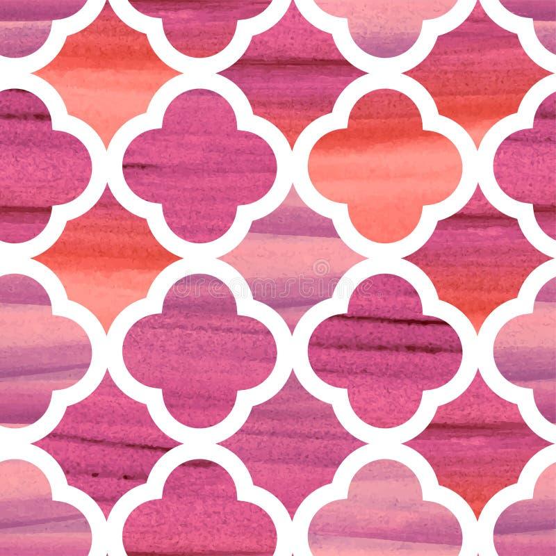 Marocco geweven roze elegant van het damast vectorpatroon stock illustratie