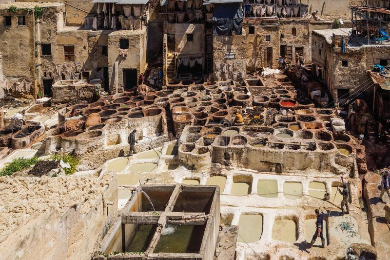 Marocco - Tanneries of Fes royalty free stock image