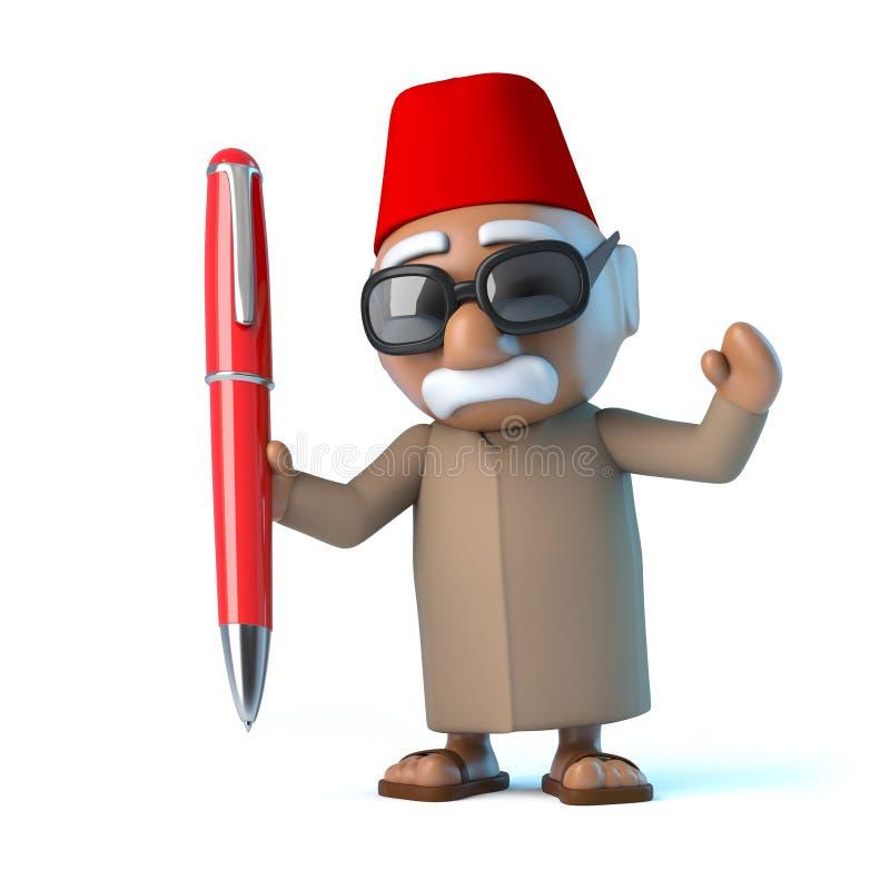 marockansk 3d har en röd penna stock illustrationer