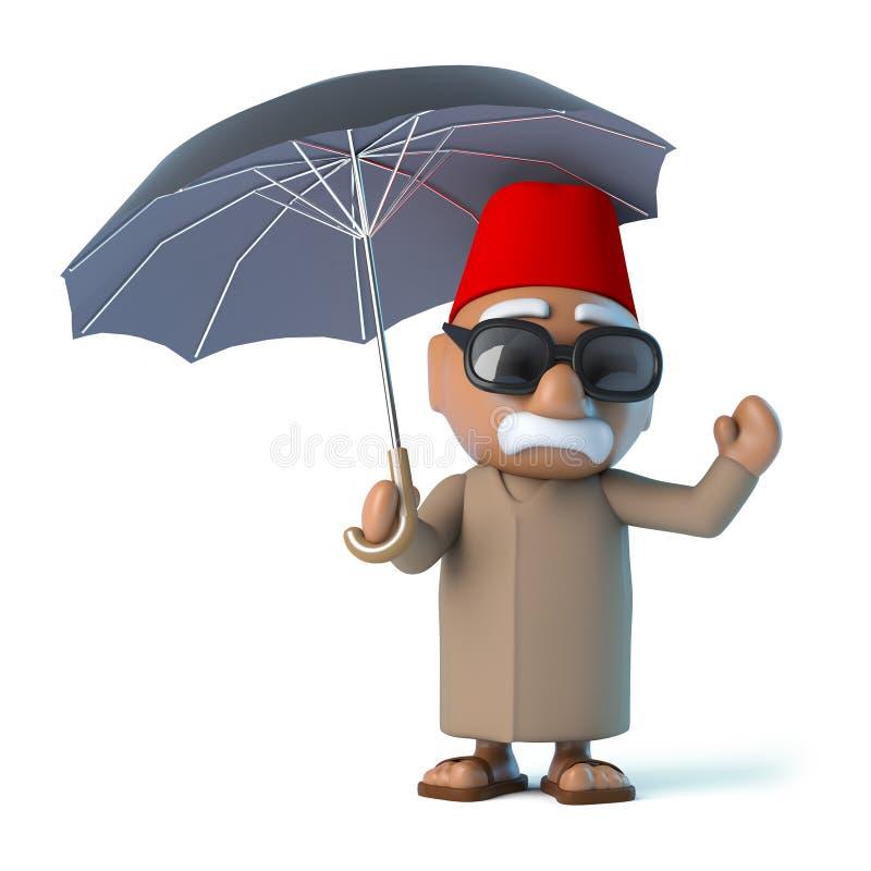 marockansk 3d har ett paraply vektor illustrationer