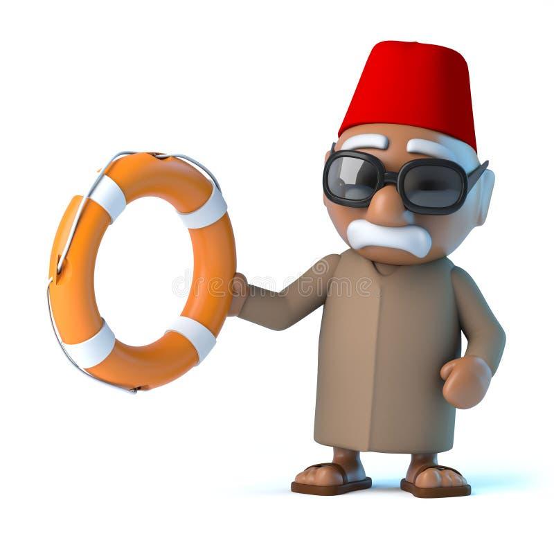 marockansk 3d kommer till räddningsaktionen vektor illustrationer