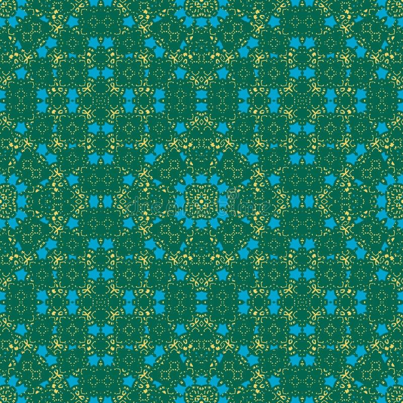 Marockansk sömlös modell Gröna, blåa gula färger stock illustrationer