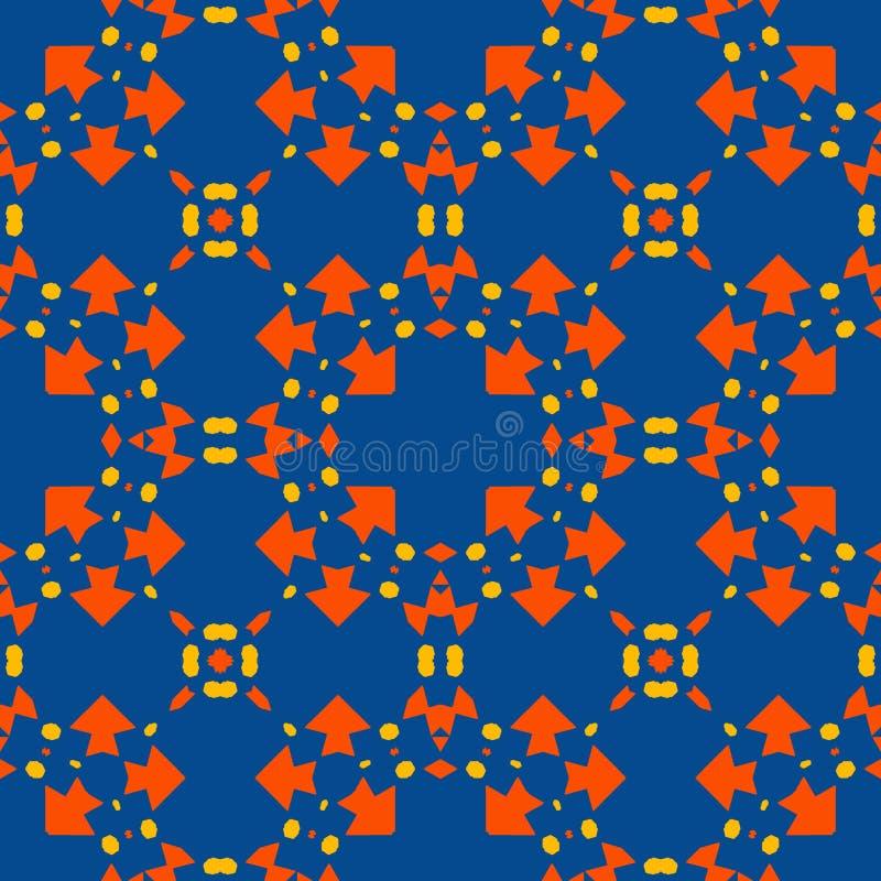 Marockansk tegelplatta - sömlös modell på blå bakgrund vektor illustrationer