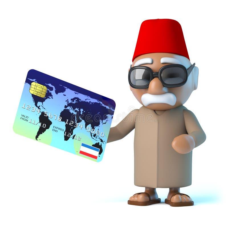 marockanska löner 3d vid debiteringkortet stock illustrationer
