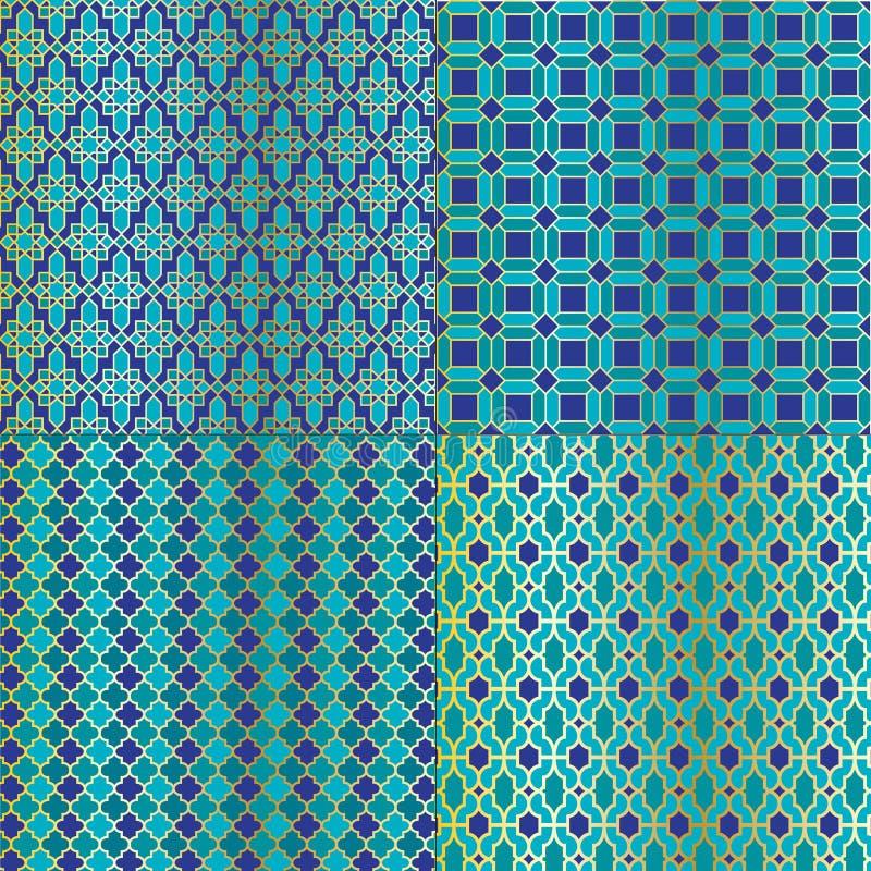 Marockanska tegelplattamodeller royaltyfri illustrationer