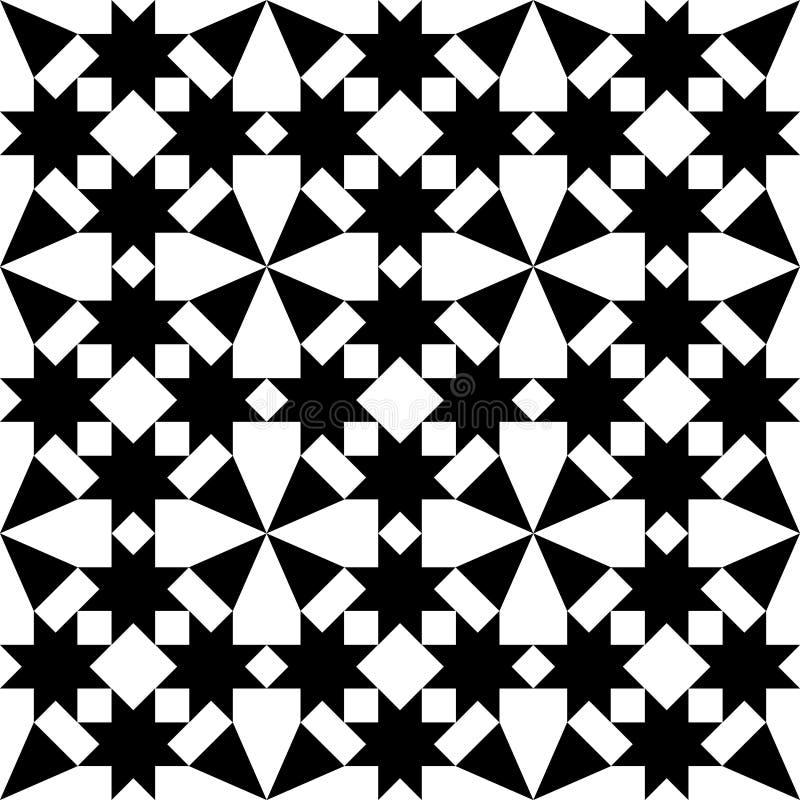 Marockanska tegelplattor planlägger, den geometriska sömlösa svarta tegelplattamodellen royaltyfri illustrationer