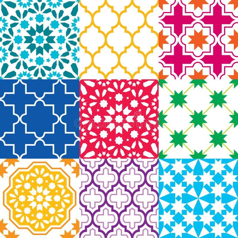 Marockanska tegelplattor planlägger, sömlösa geometriska modellsamlingar i blått, gräsplan, rött, orange som är marinblå vektor illustrationer