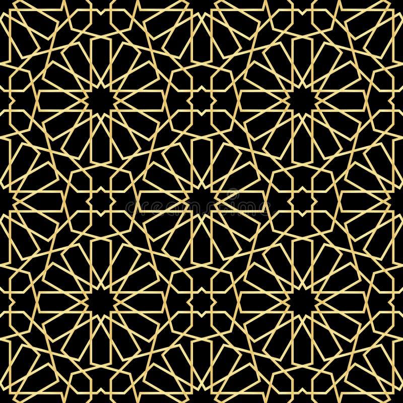 Marockanskt guld- sömlöst stock illustrationer