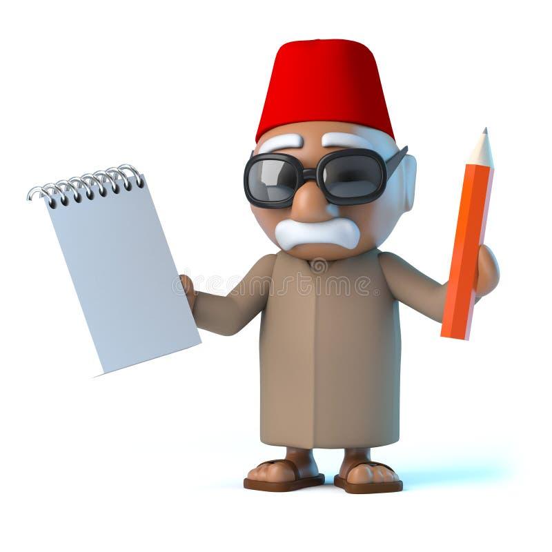 marockanskt innehav 3d en notepad och en blyertspenna stock illustrationer