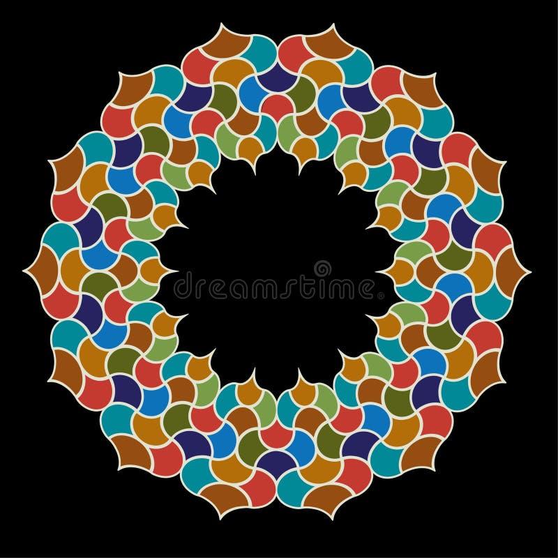 Marockanskt utsmyckat diagram för tegelplattacirkelram stock illustrationer