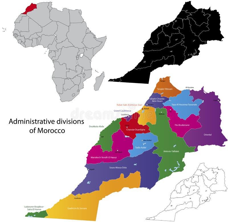 Marocko översikt vektor illustrationer
