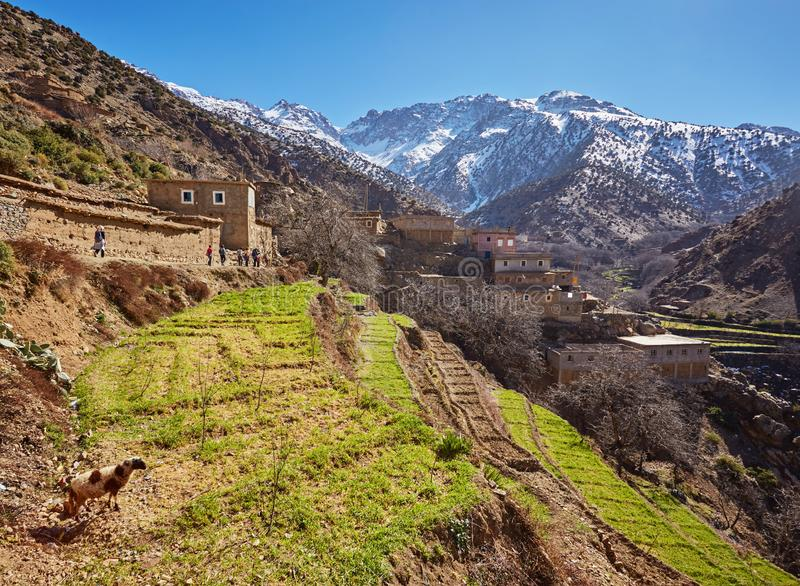 Marocko högt kartboklandskap Dal nära Marrakech på vägen till Ouarzazate Spingtime solig dag royaltyfri bild