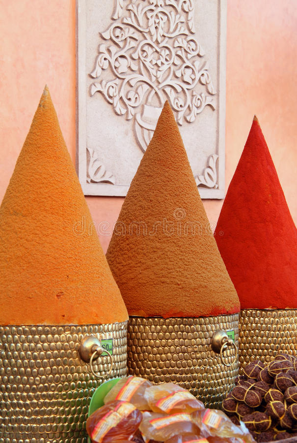 Marocko Marrakesh, kryddor. royaltyfria foton