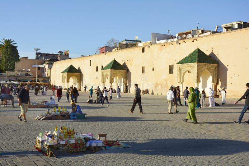 Marocko Meknes, marknad arkivfoton