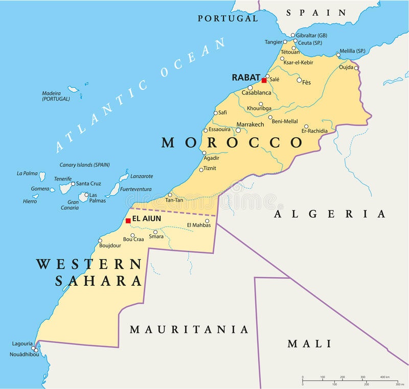 Marocko och västra Sahara Map stock illustrationer
