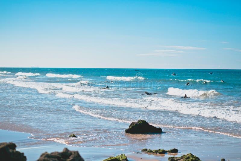 Marocko surfa strand royaltyfri fotografi
