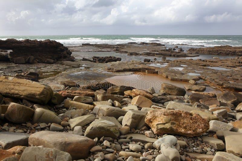 Marokańczyka wybrzeże w Darze Bouazza zdjęcia stock