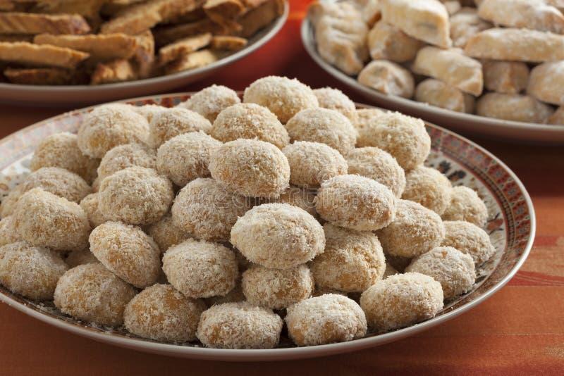 Marokańscy świąteczni domowej roboty kokosowi ciastka zdjęcie royalty free