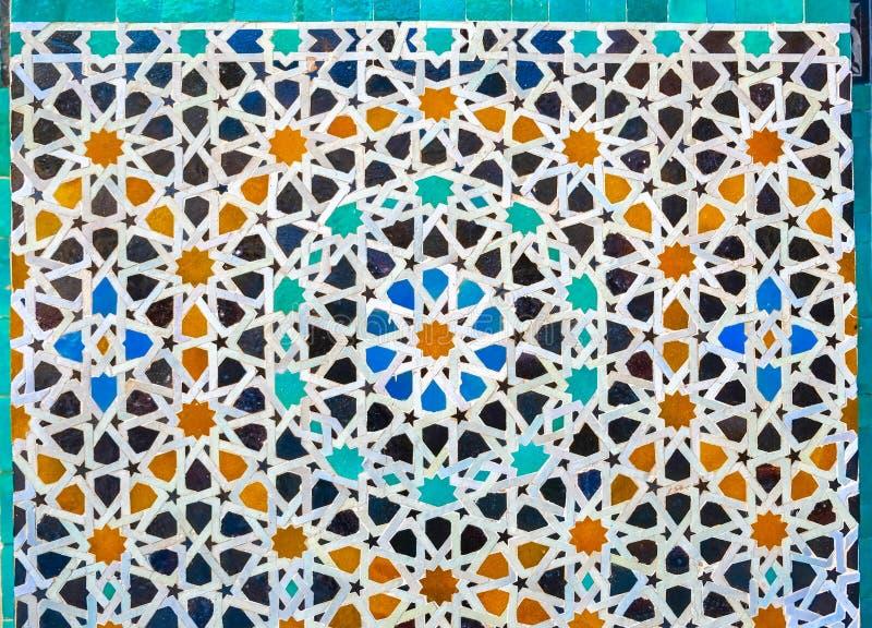 Marokański zellige mozaiki tilework na ścianie fez Morocco fotografia royalty free
