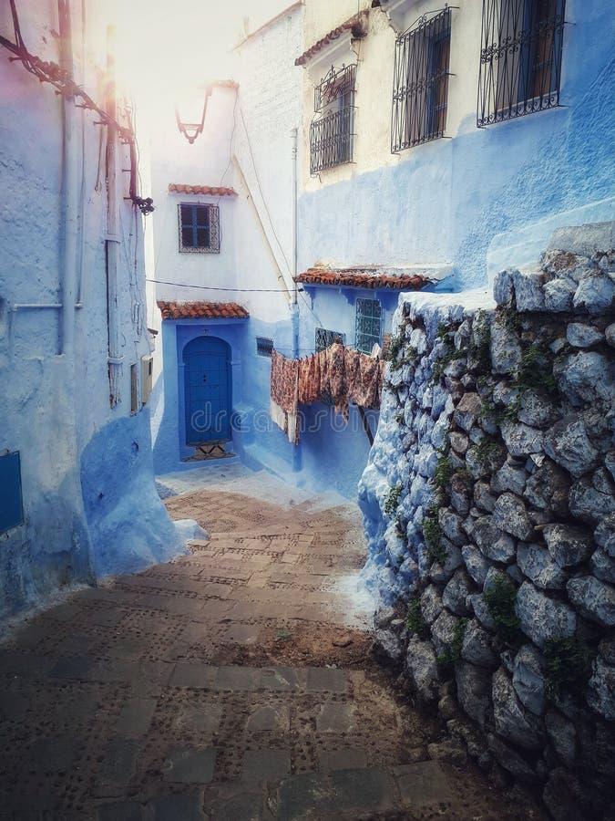 Marokkaans blauw huis royalty-vrije stock afbeeldingen
