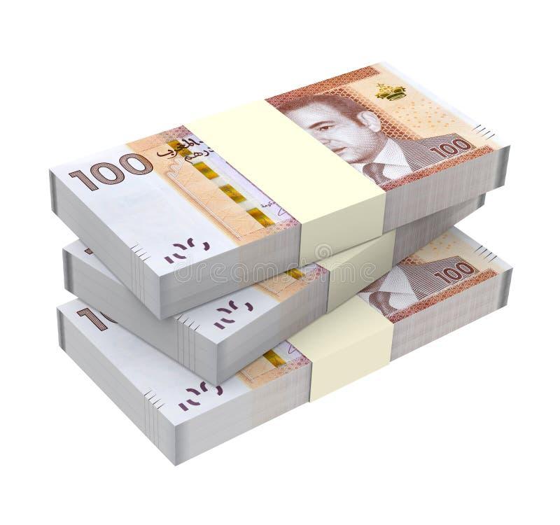 Marokkaans die geld op witte achtergrond wordt geïsoleerd royalty-vrije illustratie