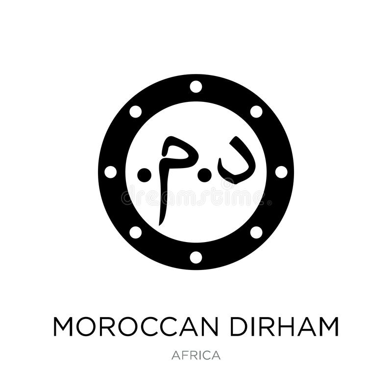 Marokkaans dirhampictogram in in ontwerpstijl Marokkaans die dirhampictogram op witte achtergrond wordt geïsoleerd Marokkaans een stock illustratie