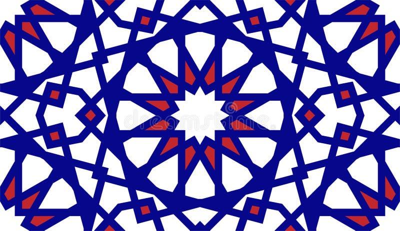 Marokkaanse arabische rastervector naadloos patroon Arabeske kleurvolle marokaanse textuur, bestaande uit textiel, stof en royalty-vrije illustratie