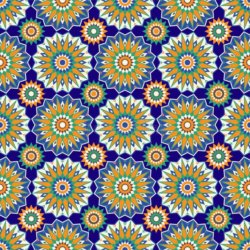 Marokkaanse mozaïek naadloze patronen Retro motief stock illustratie