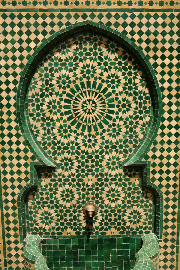 Marokkaanse mozaïekfontein royalty-vrije stock afbeeldingen