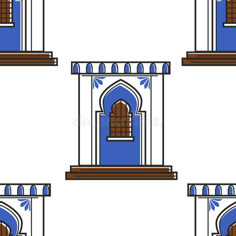 Marokkanische Architektur und nahtloses Muster der Wandschmucktür oder -fensters lizenzfreie abbildung