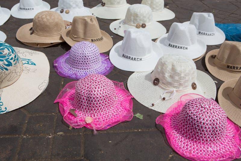 Marokkanische Hüte auf Jemaa EL--Fnaaquadrat lizenzfreie stockbilder