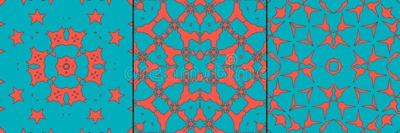 Marokkanische korallenrote Fliese - nahtloser Mustersatz stock abbildung