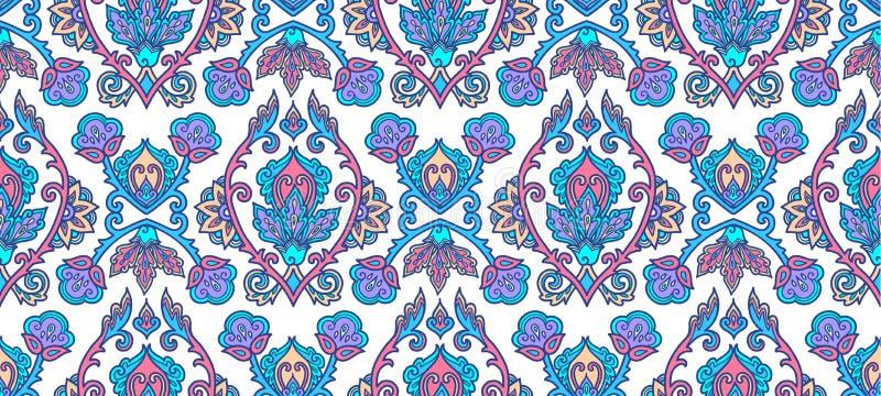Marokkanisches Art blaues lineart traditionelle türkische Blumenverzierung auf weißem Hintergrund, nahtlose Musterfliese des Vekt lizenzfreie abbildung