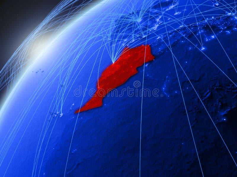 Marokko op blauwe Aarde met netwerk royalty-vrije illustratie