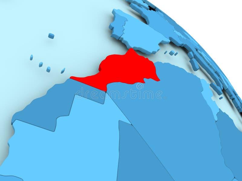 Marokko op blauwe bol stock illustratie
