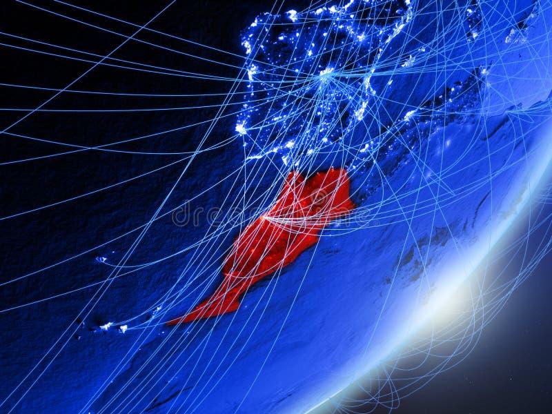 Marokko op blauwe blauwe digitale Aarde vector illustratie