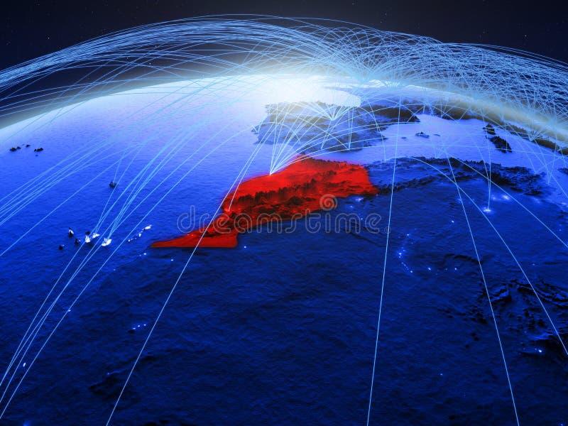 Marokko op blauwe digitale aarde met internationaal netwerk die mededeling, reis en verbindingen vertegenwoordigen 3d stock foto