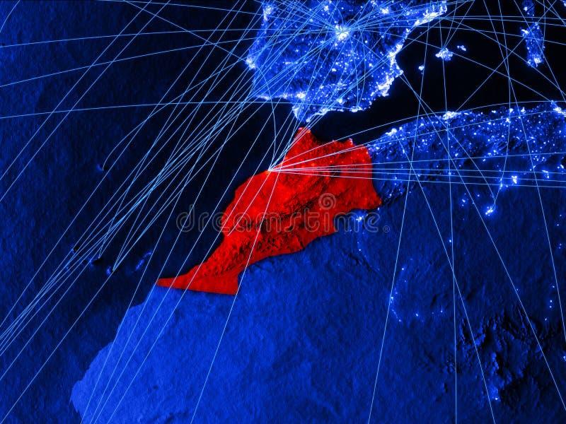 Marokko op blauwe digitale kaart met netwerken Concept internationale reis, mededeling en technologie 3D Illustratie royalty-vrije illustratie