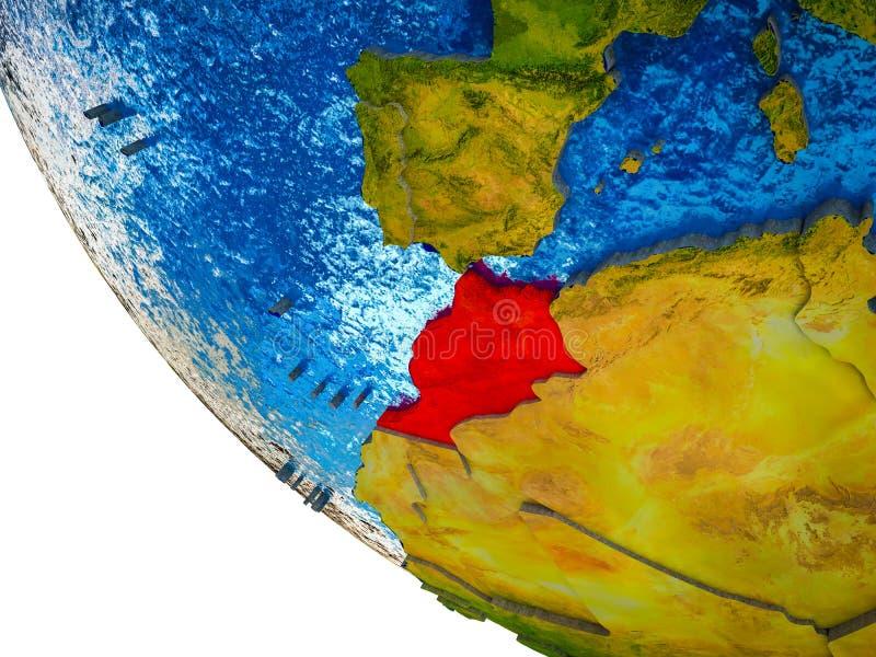 Marokko op 3D Aarde royalty-vrije illustratie