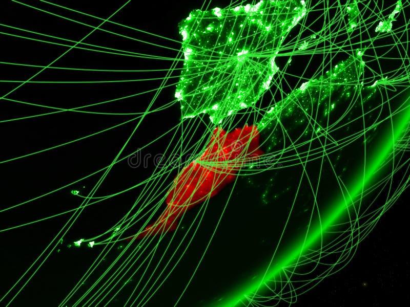 Marokko op groene Aarde vector illustratie