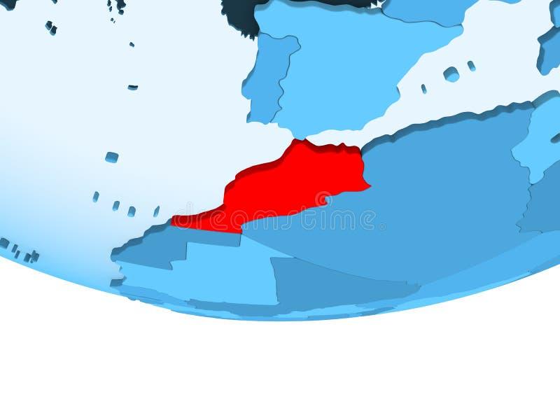 Marokko in rood op blauwe kaart stock illustratie