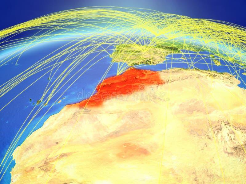 Marokko ter wereld met netwerk royalty-vrije stock foto