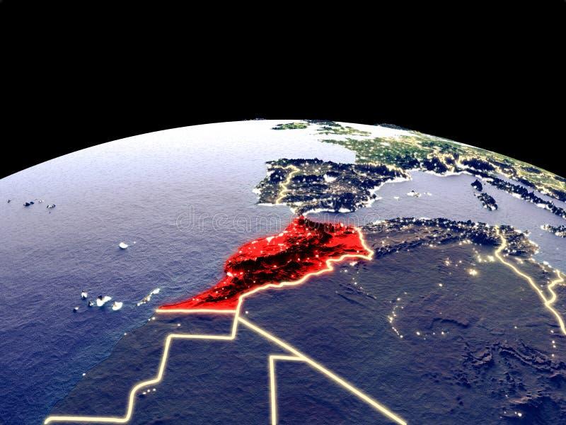 Marokko ter wereld van ruimte royalty-vrije illustratie